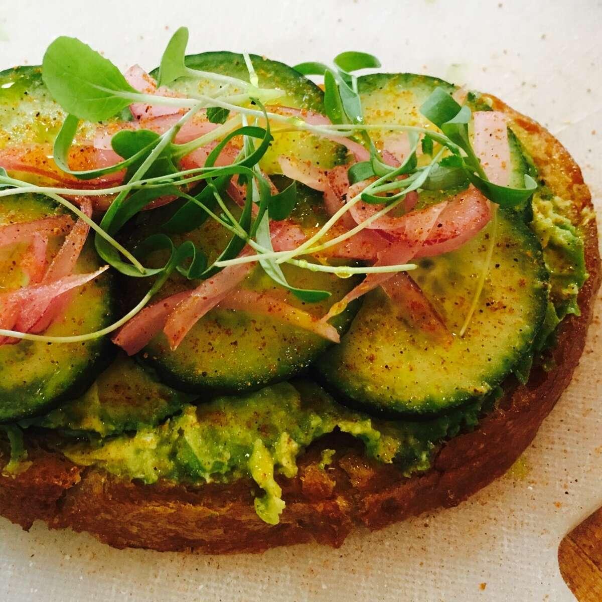 Toasty Toast ( vegan): avocado, cukes, chaat mas ala, pickled red onions