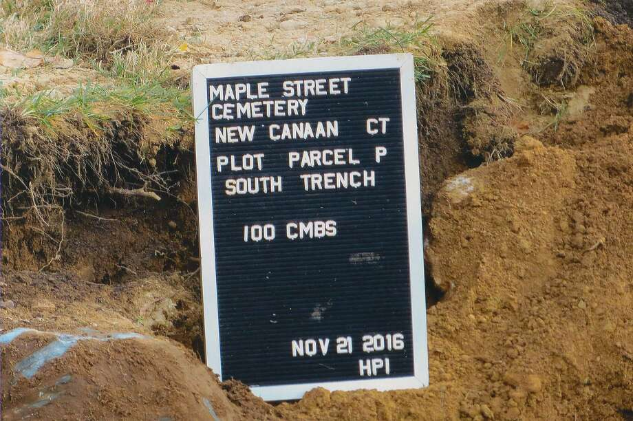 A marker placed by Historical Perspectives Inc. during digging of the Maple Street Cemetery in Nov. 2016 in New Canaan, Conn. Photo: Contributed / Contributed Photo / Stamford Advocate  contributed