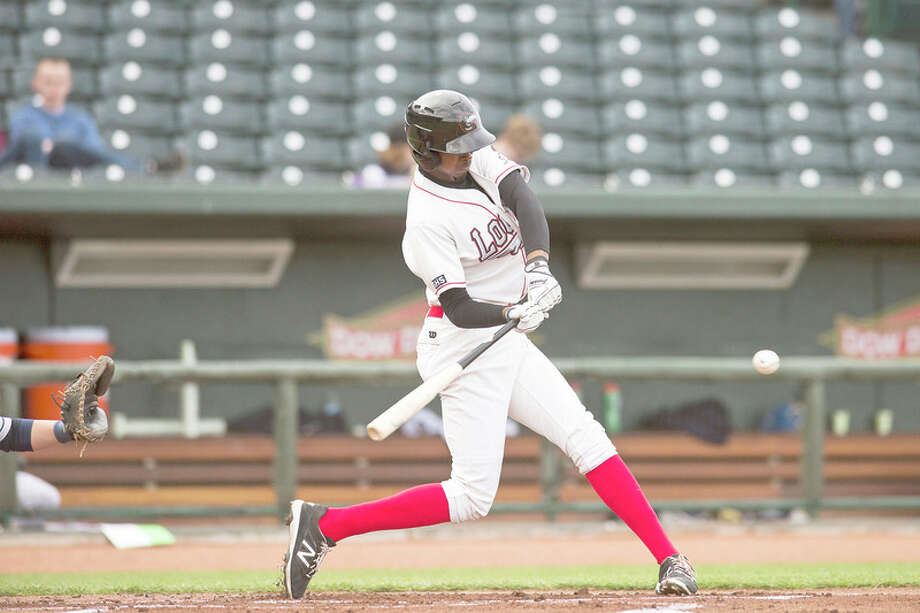 ERIN KIRKLAND for the Daily News Great Lakes Loons' Brendon Davis swings at a pitch in Tuesday's game against the Lake County Captains at Dow Diamond. / Midland Daily News