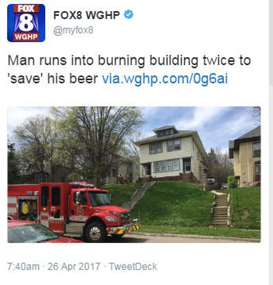 A South Dakota man was arrested April 23, 2017, after he allegedly ran back into this burning multi-family residence to get two cans of beer, according to published reports, via twitter.