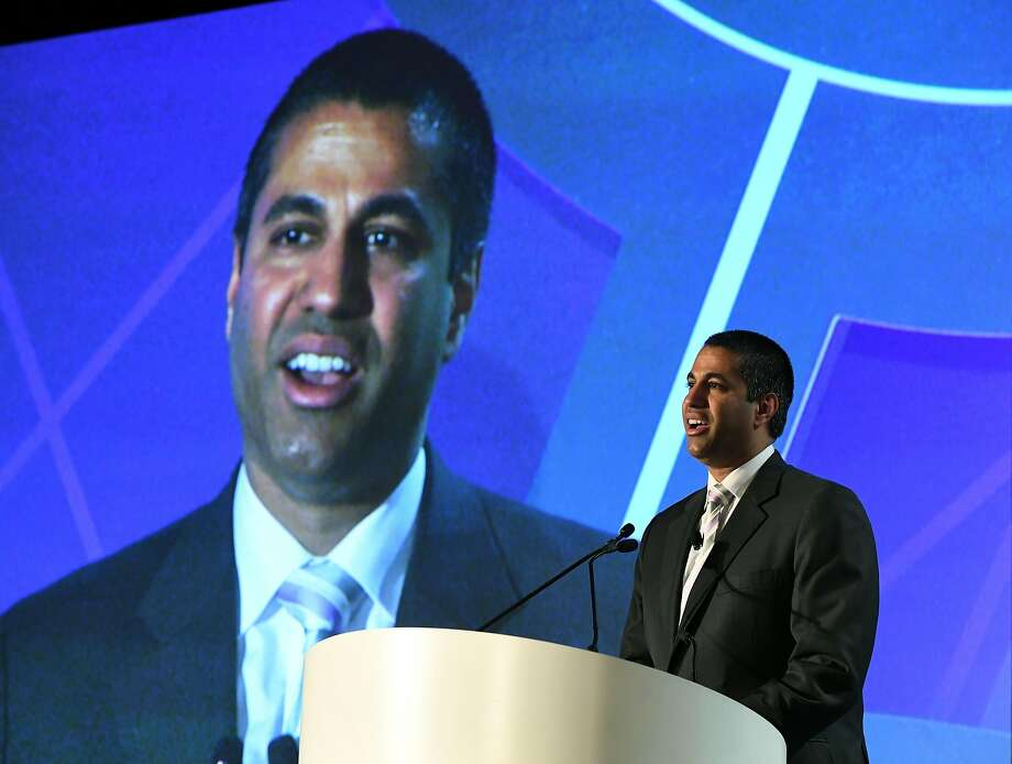 FCC Chairman Ajit Pai speaks during the electronic media show in Las Vegas. Pai is pushing to roll back consumer protections and privacy regulations and put an end to net neutrality. Photo: Ethan Miller, Getty Images