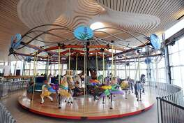The carousel in Mill River Park is nearly finished and will be open to the public on May 13. Photographed inside the new Brownstein Selkowitz Pavilion at Mill River Park in downtown Stamford, Conn. on Tuesday, April 25, 2017.