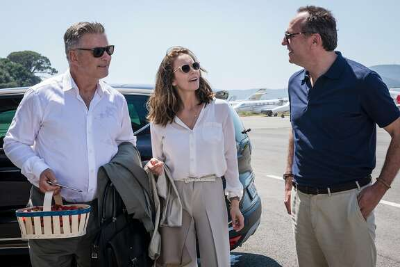 """(l to r) Alec Baldwin as Michael Lockwood, Diane Lane as Anne Lockwood and Arnaud Viard as Jacques Clement in the new movie """"Paris Can Wait,"""" directed by Eleanor Coppola.  Photo by Eric Caro / Courtesy of Sony Pictures Classics"""