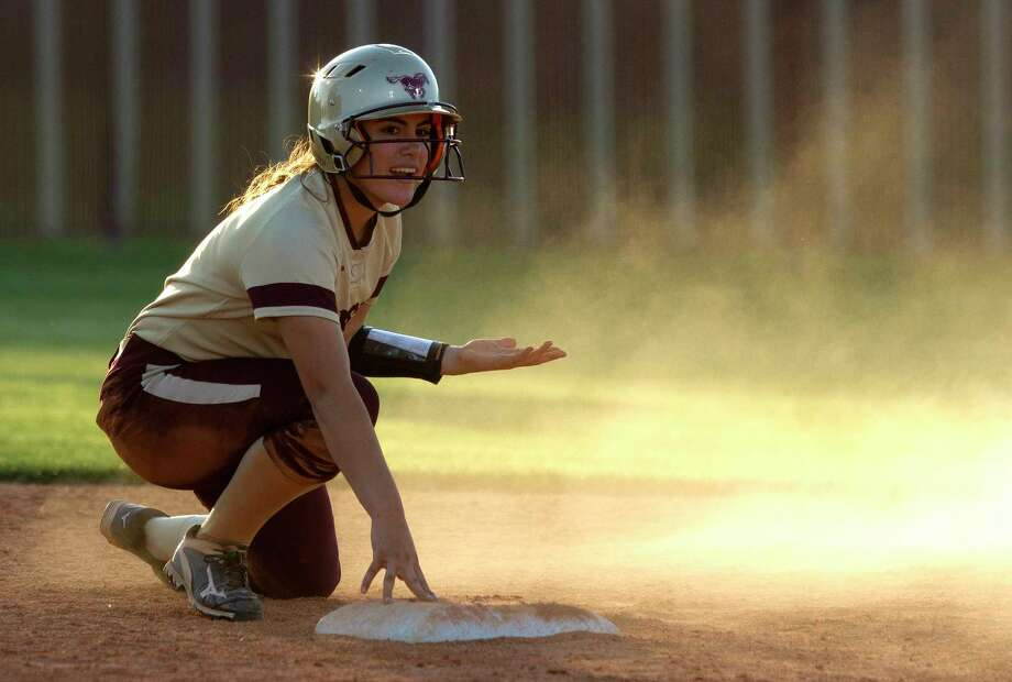 Lauren Corley #6 of Magnolia West reacts after being called out trying to steal second during the first inning of a District 20-5A high school softball game, Friday, April 21, 2017, in Magnolia. Photo: Jason Fochtman, Staff Photographer / © 2017 Houston Chronicle