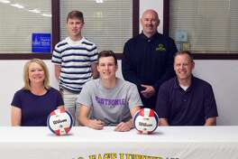 Metro-East Lutheran senior Braden Woolsey will play volleyball at Fontbonne University. In the front row, from left to right, are mother Diana Woolsey, Braden Woolsey and father Mike Woolsey. In the back row, from left to right, are brother Brent Woolsey and MELHS coach Jason Batty.