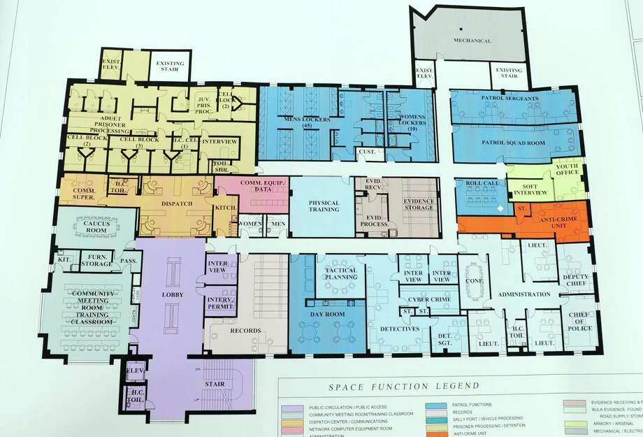 Here is a layout for plans to relocate the Ansonia police department into the second floor of the former Farrel Corporate headquarters at 65 Main Street. The city plans to purchase the property from Shaw Venture Growth of Greenwich for between $3-4 million using a 40-year federal loan. Photo: Christian Abraham / Hearst Connecticut Media / Connecticut Post