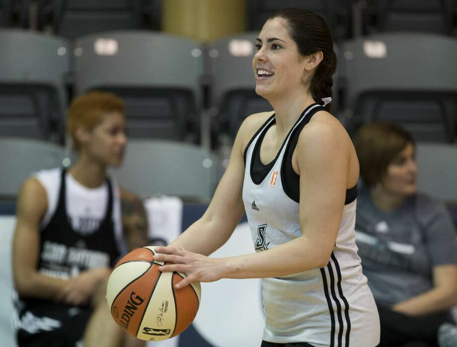San Antonio Stars rookie Kelsey Plum practices 3-pointers during the Stars' first day of training camp, Sunday, April 23, 2017, in San Antonio. (Darren Abate/For the Express-News) Photo: Darren Abate/Darren Abate/San Antonio Express-News