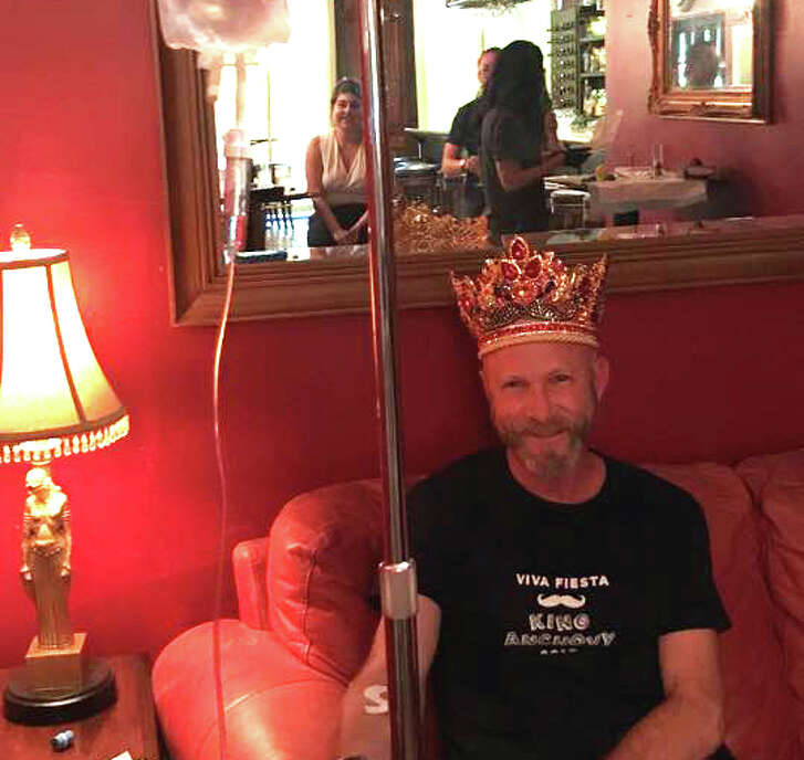 """King Anchovy Jeffrey James used Alamo IV to get rehydrated at Bar Du Mon Ami April 25 and posted this photo of his experience on Facebook. """"It pays to be King, get hydrated and treated like a king at Alamo IV,"""" he wrote."""