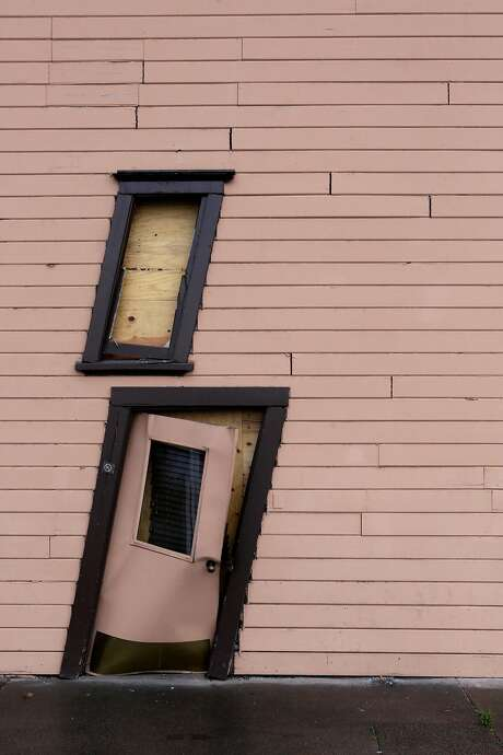 A door and window in Trefethen Family Winery's historic McIntyre building were throw askew following the 2014 quake. Photo: Terray Sylvester, The Chronicle