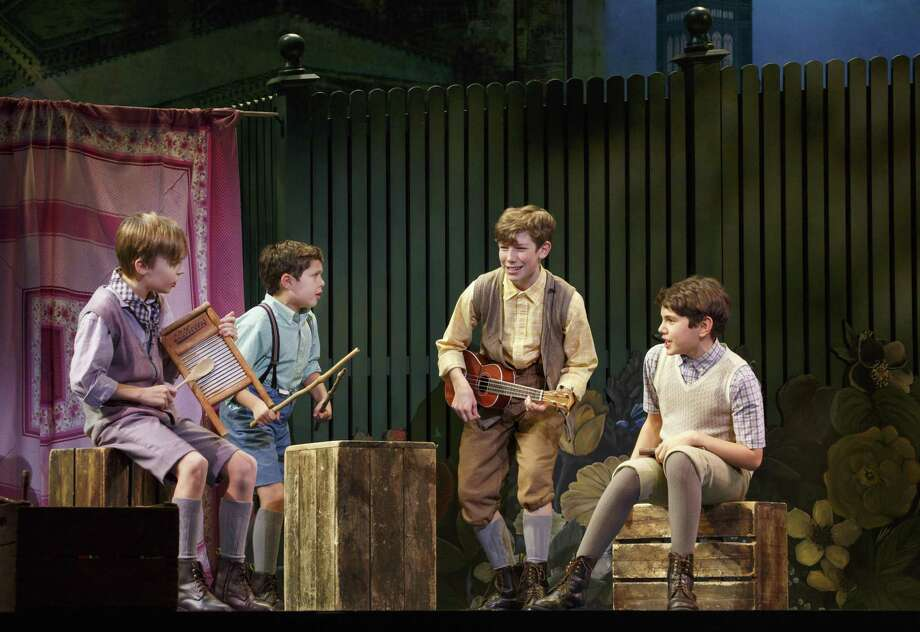 "Mitchell Wray (from left), Jordan Cole, Finn Faulconer and Ben Krieger play brothers in the touring production of ""Finding Neverland"" that is coming to the Majestic Theatre. Photo: Courtesy Carol Rosegg / Courtesy Carol Rosegg"