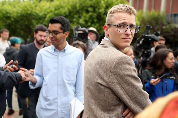 After the cancellation of Ann Coulter's scheduled Thursday appearance in Sproul Plaza, Berkeley College Republicans President Troy Worden and External Vice President Naweed Tahmas wait to start press conference in Berkeley, Calif., on Wednesday, April 26, 2017.