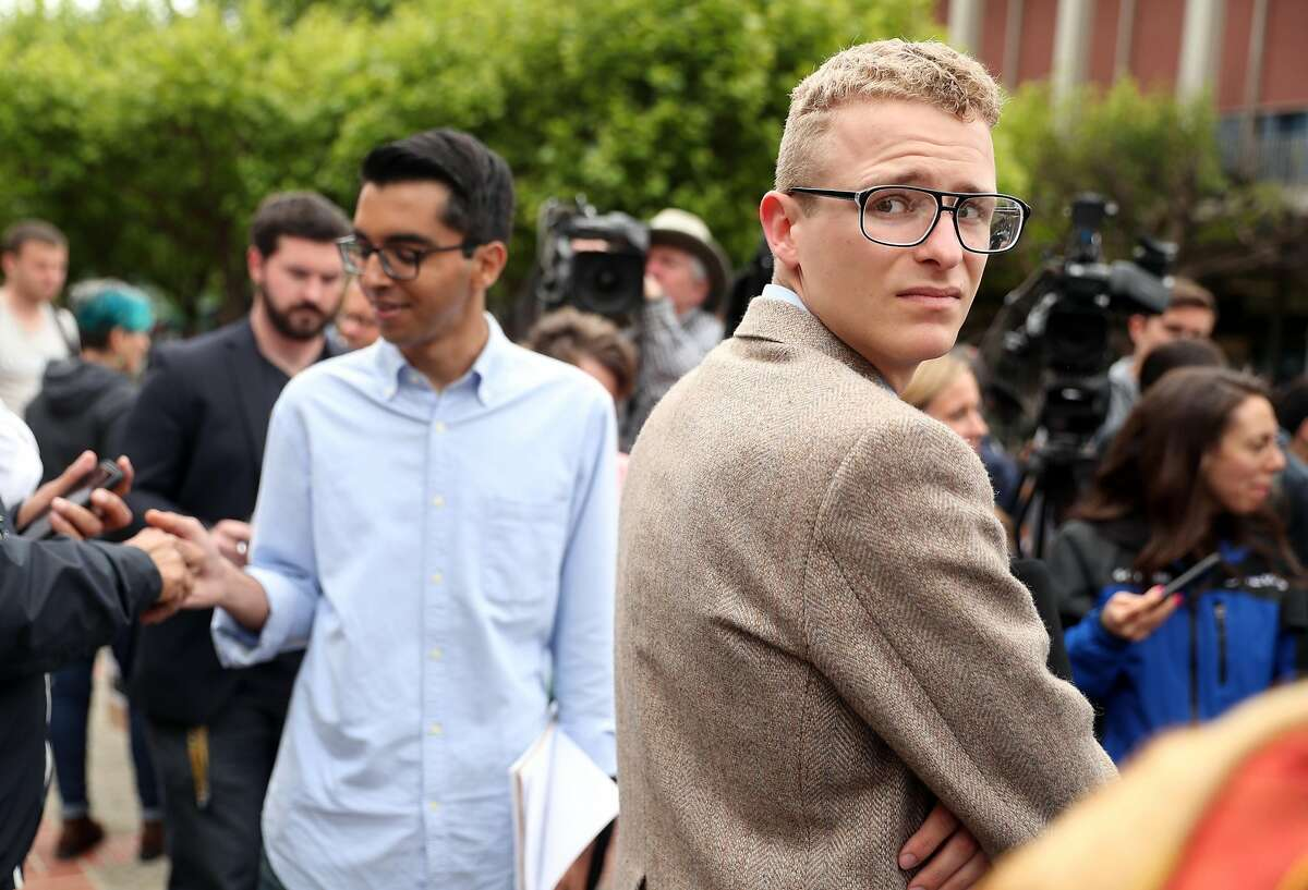 After the cancellation of Ann Coulter's scheduled Thursday appearance in Sproul Plaza, Berkeley College Republicans President Troy Worden (right) and External Vice President Naweed Tahmas wait to start press conference in Berkeley, Calif., on Wednesday, April 26, 2017. Yvette Felarca, national organizer for By Any Means Necessary, a group that led protests against conservative speakers at the UC Berkeley campus in 2017, has to pay the attorney and court fees for Troy Worden, the former president of the College Republicans, which promoted the events.