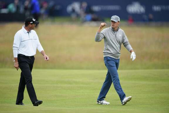 ST ANDREWS, SCOTLAND - JULY 14:  Jordan Spieth of the United States talks to Ryan Palmer of the United States ahead of the 144th Open Championship at The Old Course on July 14, 2015 in St Andrews, Scotland.  (Photo by Stuart Franklin/Getty Images)