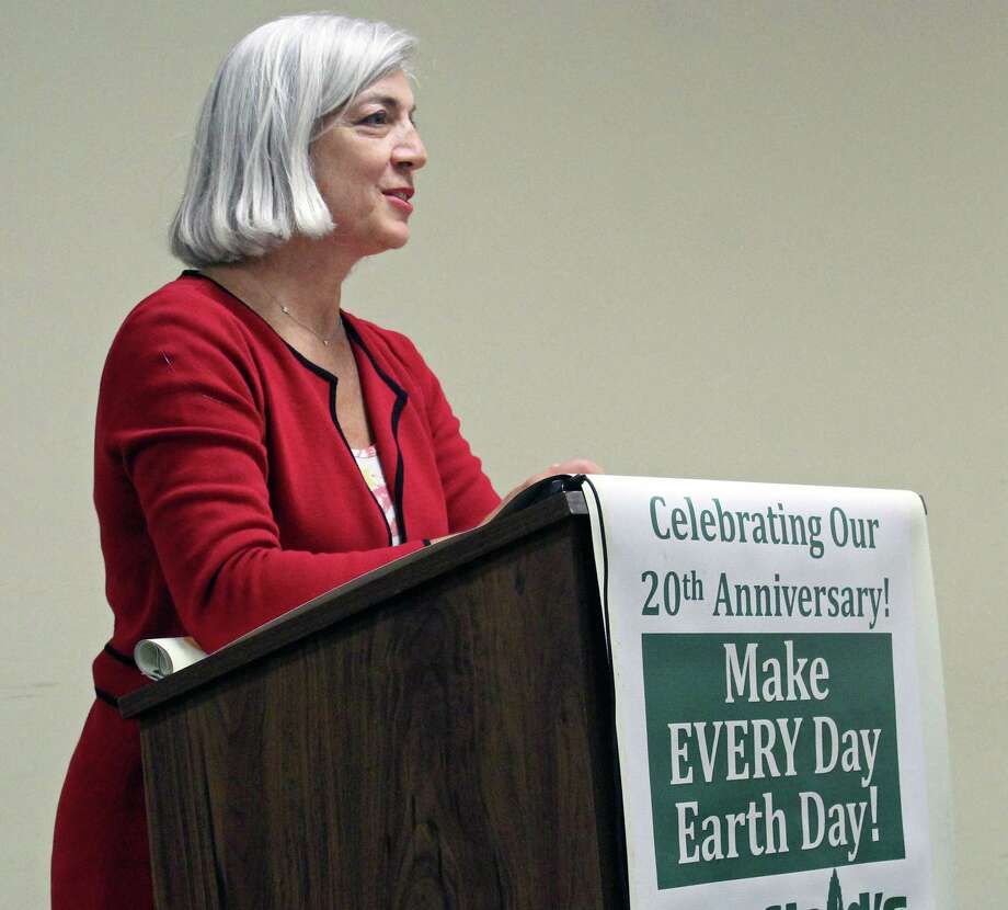 Earth Day Committee Chairman Mary Hogue updates the Board of Selectmen on Earth Day events, and presented the winners of the Earth Day art contest. Fairfield, CT. 4/25/17 Photo: Genevieve Reilly / Hearst Connecticut Media / Fairfield Citizen