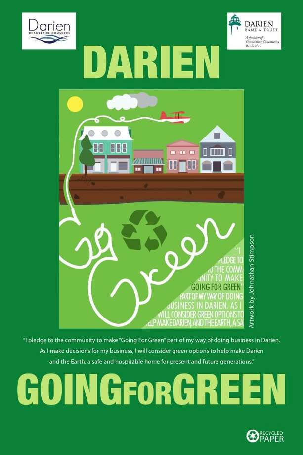 "The first place poster designed for the Chamber of Commerce's ""Going For Green"" event, created by Darien High School student Johnathan Stimpson Photo: Erin Kayata / Hearst Connecticut Media / Darien News"