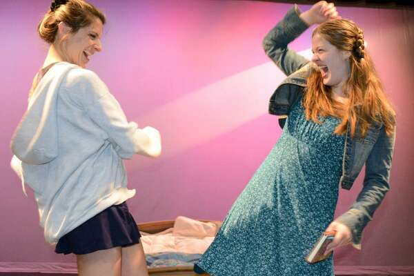"Danielle Valdes, left, and Hilary Webster in the production of ""Baby"" at the Darien Arts Center, which opened on April 21."