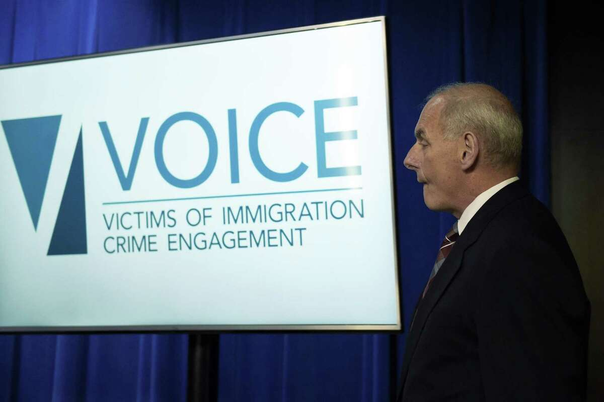 Homeland Security Secretary John Kelly arrives to for a news conference at Immigration and Customs Enforcement (ICE) in Washington, Wednesday, April 26, 2017, to announce the opening of new Victims of Immigration Crime Engagement (VOICE). (AP Photo/Susan Walsh)