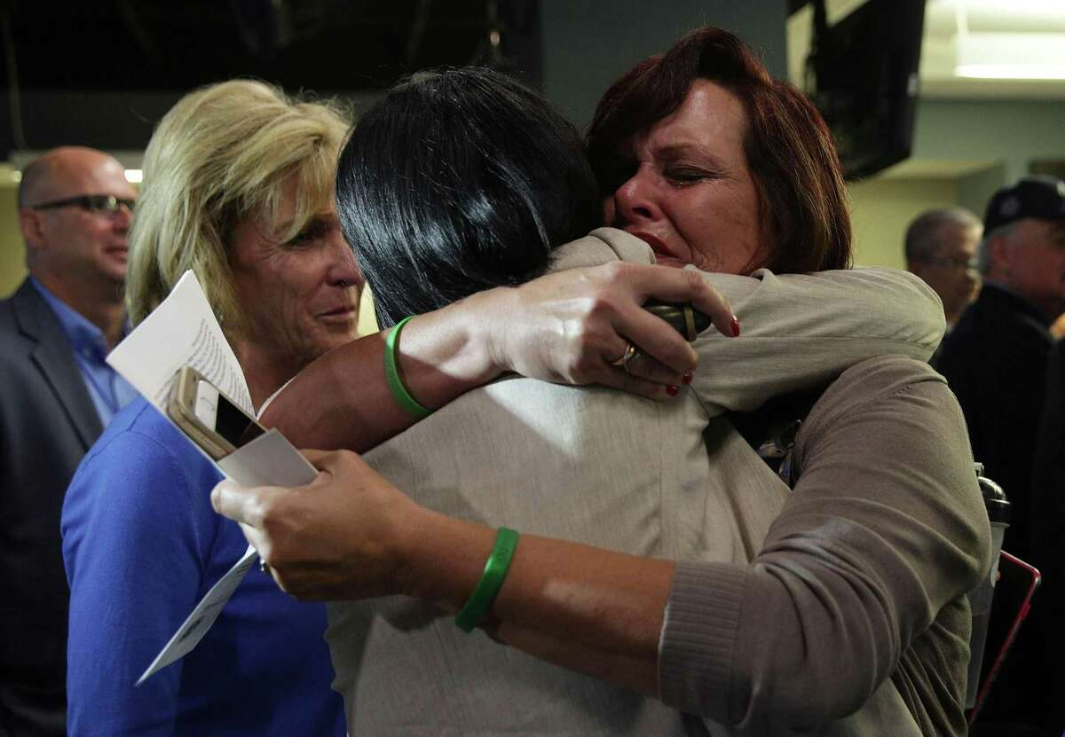 WASHINGTON, DC - APRIL 26: Sabine Durden (R) of Mineral Spring, Arkansas, whose son Dominic Durden was killed in a traffic accident with an undocumented immigrant, receives a hug from Acting Assistant Director of VOICE Office Barbara Gonzalez (2nd R) after a news conference April 26, 2017 in Washington, DC. Homeland Security Secretary John Kelly held a news conference to announce the opening of the new Victims of Immigration Crime Engagement (VOICE) office. (Photo by Alex Wong/Getty Images)