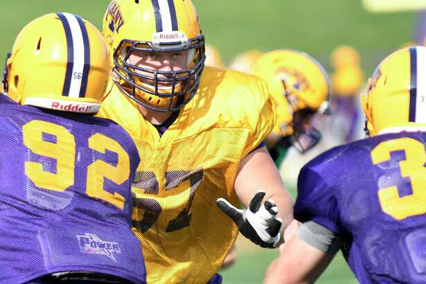 UAlbany offensive lineman Kevin Malloy, center, during football practice on Wednesday, Sept. 21, 2016, at UAlbany in Albany, N.Y. (Cindy Schultz / Times Union)