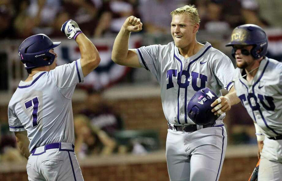 Former Oak Ridge standout Luken Baker , right, was a key cog last year as TCU advanced to the College World Series. He's thriving again in 2017. Photo: Sam Craft, FRE / FR145148 AP