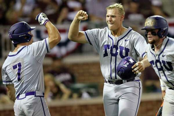 Former Oak Ridge standout Luken Baker , right, was a key cog last year as TCU advanced to the College World Series. He's thriving again in 2017.