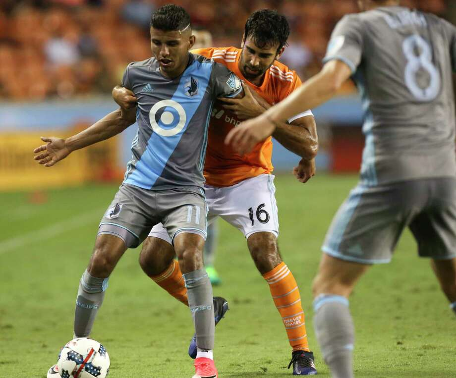 Kevin Garcia (16) has appeared in a pair of games for the Dynamo, including a shutout of San Jose. He served as captain of the team's Rio Grande Valley affiliate last season. Photo: Yi-Chin Lee, Staff / © 2017  Houston Chronicle