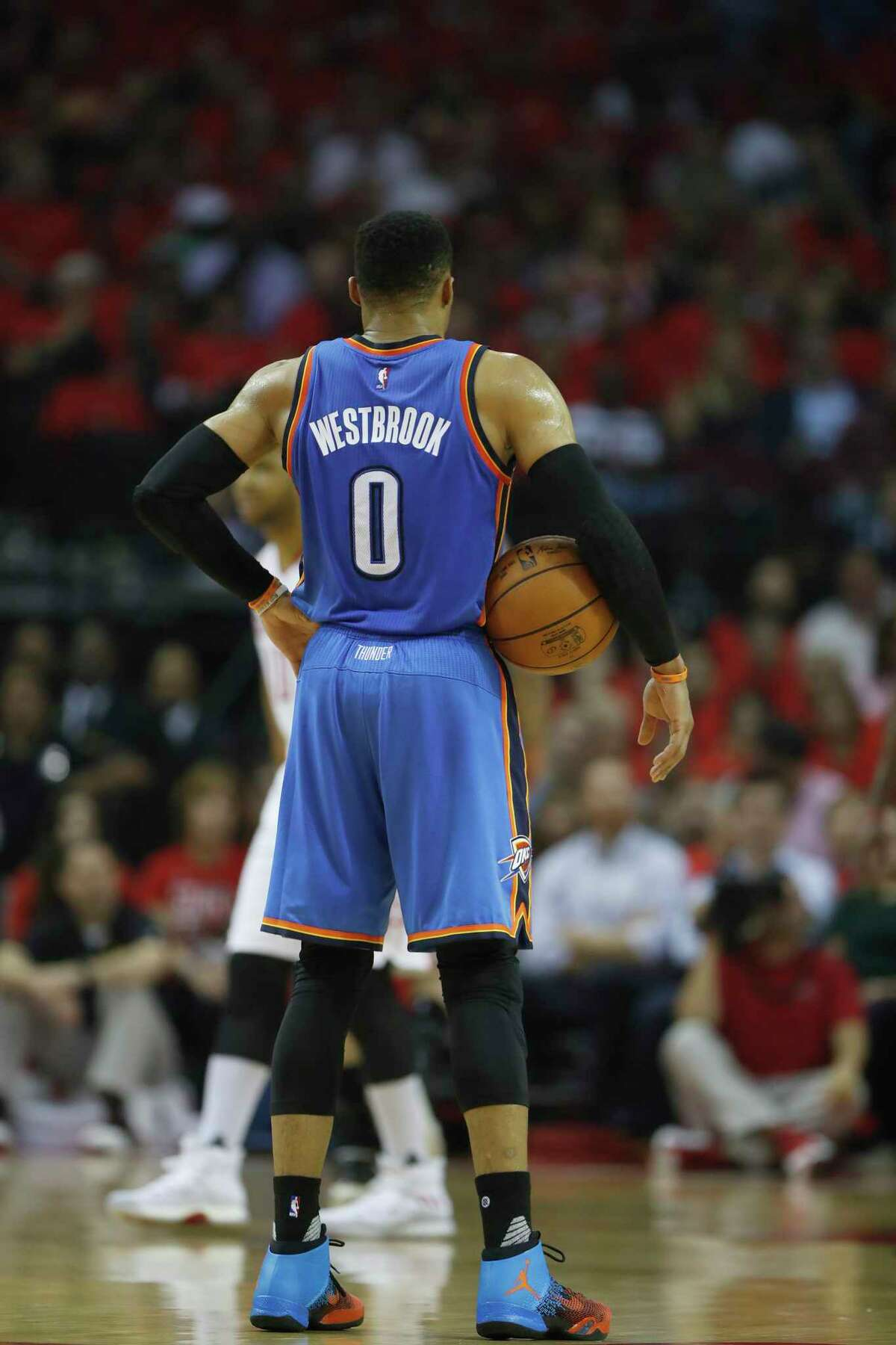 Oklahoma City Thunder guard Russell Westbrook (0) in the first half of Game 5 of a Western Conference quarterfinals of the 2017 NBA playoffs, April 24, 2017, in Houston. ( Karen Warren / Houston Chronicle )