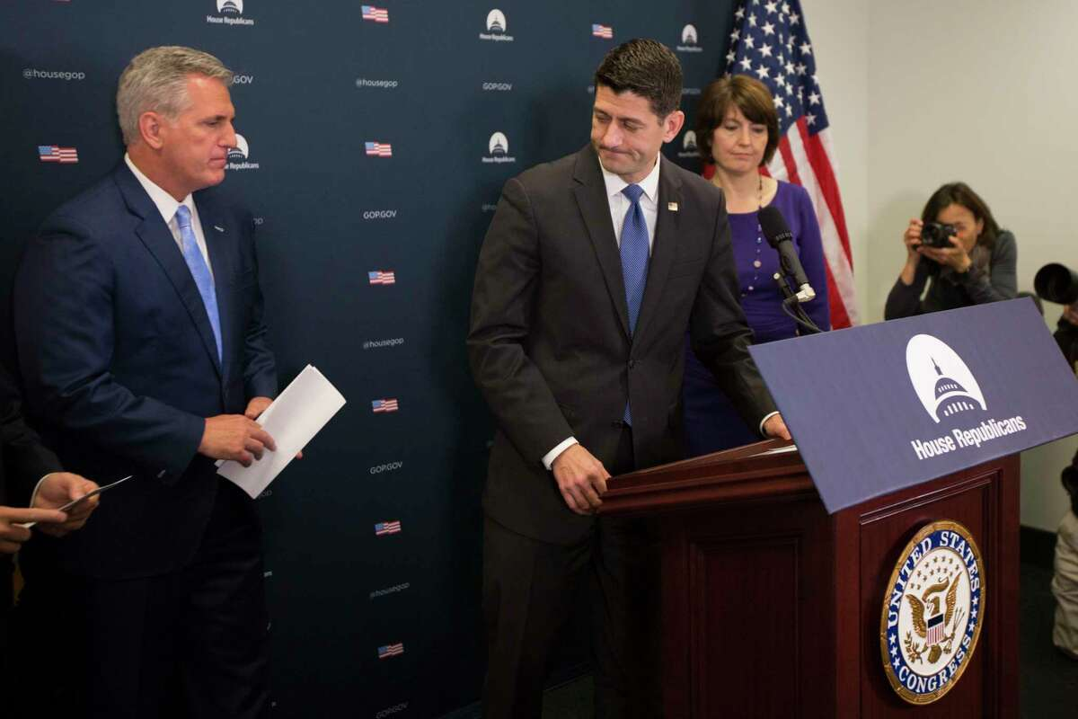 House Speaker Paul Ryan of Wis., center, flanked by House Majority Leader Kevin McCarthy of Calif. and Rep. Cathy McMorris Rodgers, R-Wash., leaves the podium during a news conference after a GOP caucus meeting on Capitol Hill in Washington, Wednesday, April 26, 2017. (AP Photo/Evan Vucci)