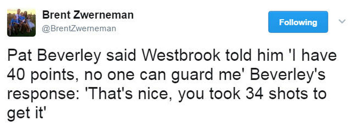 Touché, Patrick! Westbrook is a marvelous player, to be sure, but let's be honest here. We'd have all hated playing with him as a kid. What a ball hog!