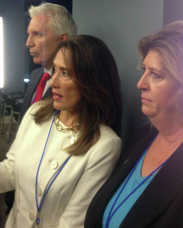Tim Lyng, Maria Espinoza and Laura Wilkerson were the forces behind the Trump administration's launch of an office to help victims of crimes committed by immigrants living here illegally.  Photo: Kevin Diaz / Houston Chronicle
