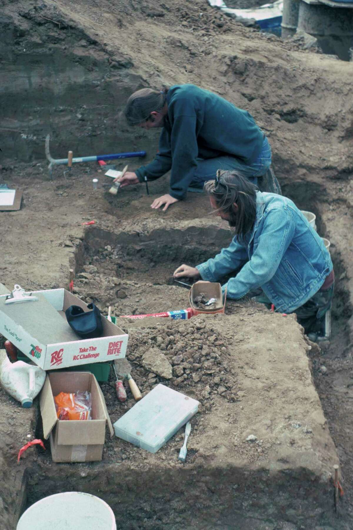 A dig in 1992-93 during a freeway project in San Diego unearthed possible evidence of human-like behavior from 130,000 years ago, when bones and teeth of a mastodon were evidently smashed with rocks.