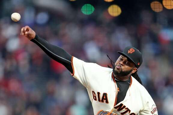 San Francisco Giants' Johnny Cueto delivers in 1st inning against Los Angeles Dodgers during MLB game at AT&T Park in San Francisco, Calif., on Wednesday, April 26, 2017.