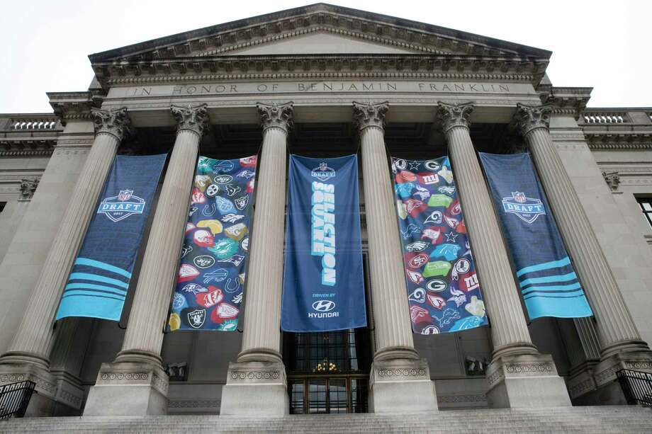 Banners hand from the Franklin Institute ahead of the 2017 NFL football draft, in Philadelphia, Wednesday, April 26, 2017. (AP Photo/Matt Rourke) ORG XMIT: PX106 Photo: Matt Rourke / Copyright 2017 The Associated Press. All rights reserved.
