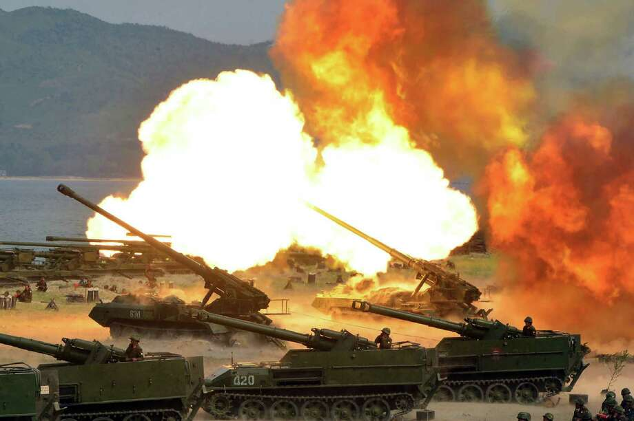 """The North Korean government provided this photo Wednesday that is said to show a """"Combined Fire Demonstration"""" held to celebrate the 85th anniversary of the North Korean army. Photo: STR, Stringer / AFP or licensors"""