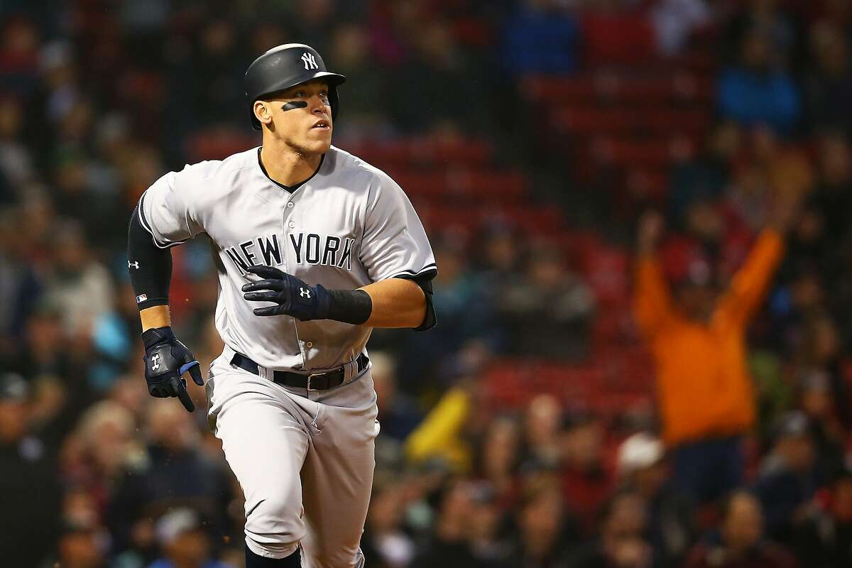 BOSTON, MA - APRIL 26: Aaron Judge #99 of the New York Yankees rounds the bases after hitting a two-run home run in the second inning during a game against the Boston Red Sox at Fenway Park on April 26, 2017 in Boston, Massachusetts. (Photo by Adam Glanzman/Getty Images)
