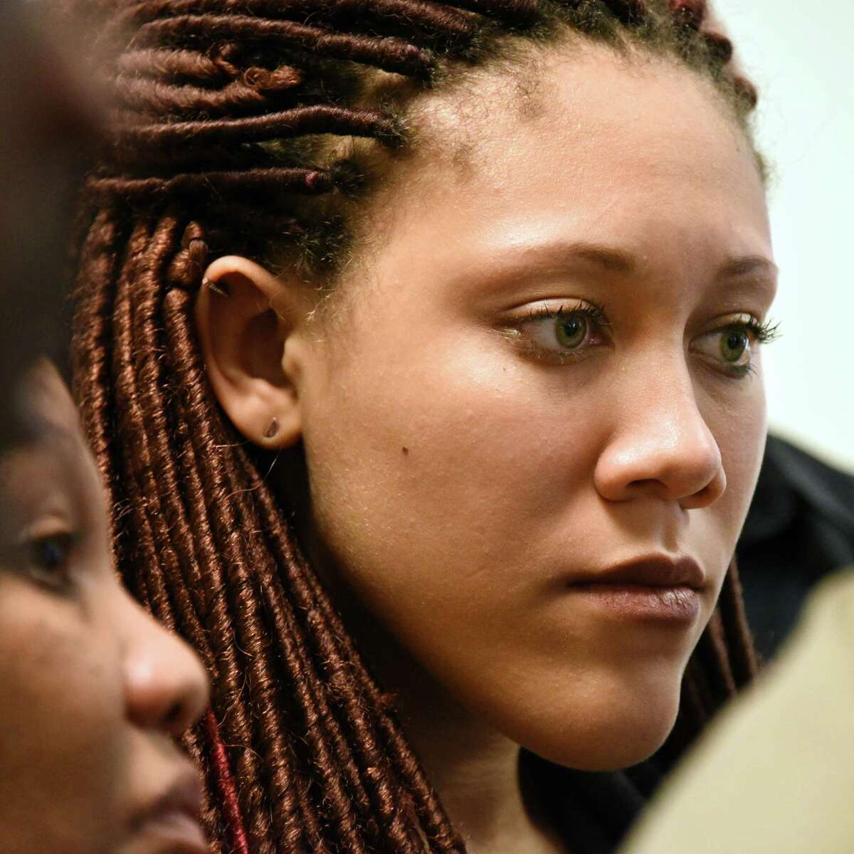 Former UAlbany student Ariel Agudio leaves County Court after being found guilty of false reporting but not guilty of assault on a CDTA bus last year Wednesday April 26, 2017 in Albany,NY. (John Carl D'Annibale / Times Union)