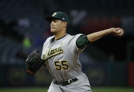 Oakland Athletics starting pitcher Sean Manaea throws against the Los Angeles Angels during the first inning of a baseball game, Wednesday, April 26, 2017, in Anaheim, Calif. (AP Photo/Jae C. Hong)