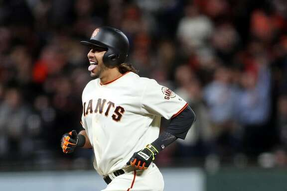 San Francisco Giants' Michael Morse celebrates his game-tying hime run in 8th inning against Los Angeles Dodgers' during MLB game at AT&T Park in San Francisco, Calif., on Wednesday, April 26, 2017.
