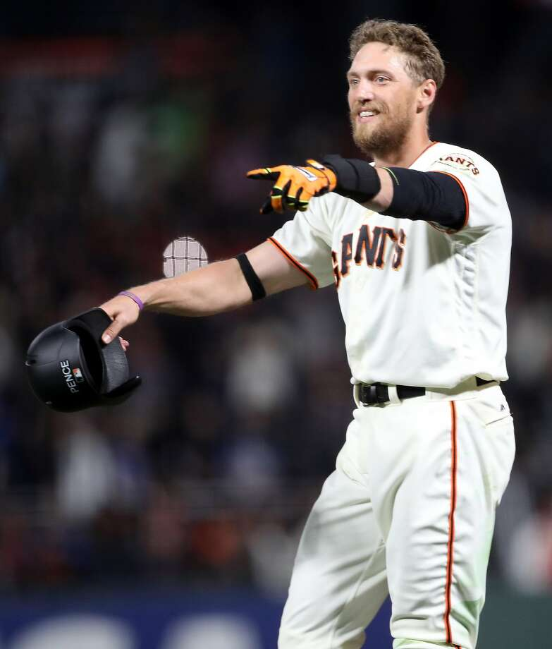 San Francisco Giants' Hunter Pence celebrates his game-winning sacrifice fly giving Giants a 4-3 win over Los Angeles Dodgers during MLB game at AT&T Park in San Francisco, Calif., on Wednesday, April 26, 2017. Photo: Scott Strazzante, The Chronicle