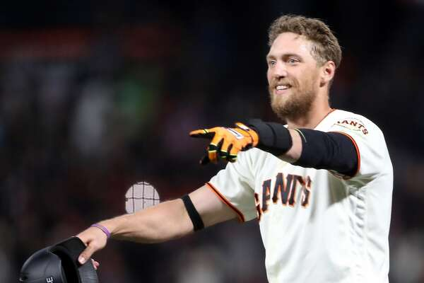 San Francisco Giants' Hunter Pence celebrates his game-winning sacrifice fly giving Giants a 4-3 win over Los Angeles Dodgers during MLB game at AT&T Park in San Francisco, Calif., on Wednesday, April 26, 2017.