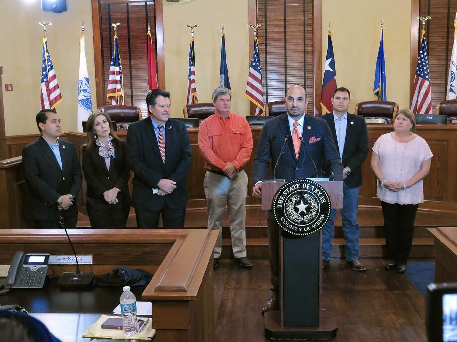 "City of Laredo and Webb County officials held a press conference Wednesday in the Commissioners Court to discuss the FBI's investigation. From left to right, Regent Alberto Torres, Jr., Regent Nelly Vielma, Mayor Pete Sáenz, Commissioner John Galo, Webb County Judge Tano Tijerina, Commissioner Jesse Gonzalez and Commissioner Rosaura ""Wawi"" Tijerina. Photo: Foto Por Cuate Santos