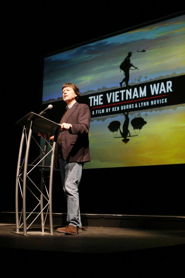 "Ken Burns discusses ""The Vietnam War,"" his new 18-hour documentary at the University of Houston's Cullen Performance Hall on April 26, 2017. Photo courtesy of Houston Public Media/John Lewis"