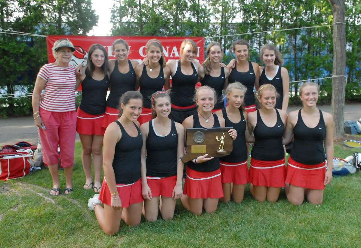 The New Canaan girls tennis team poses for a photo after winning the Class M Championship over Wilton High School, 7-0, at Yale University, Friday, June 4, 2010.