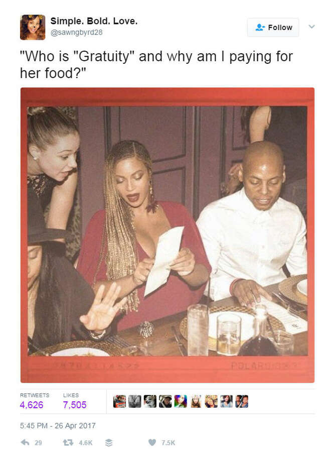 """Who is 'Gratuity' and why am I paying for her food?""Source: Twitter Photo: Twitter"
