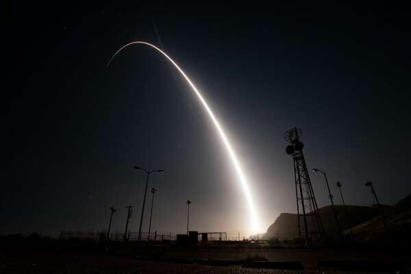A photo from the U.S. Air Force shows a launched unarmed intercontinental ballistic missile from the Vandenberg Air Force Base in California on Wednesday, April 26, 2017.