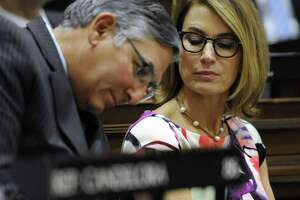 Republican State Senate Leader Len Fasano, left, and House Minority Leader Themis Klarides, plan to offer a GOP budget alternative on Thursday afternoon.