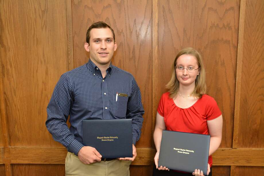 Cody Lindberg (left), a senior from Southlake, and Emily Brown, a senior from Aurora, Colo., will graduate Saturday, May 6, with Honors degrees from Wayland.