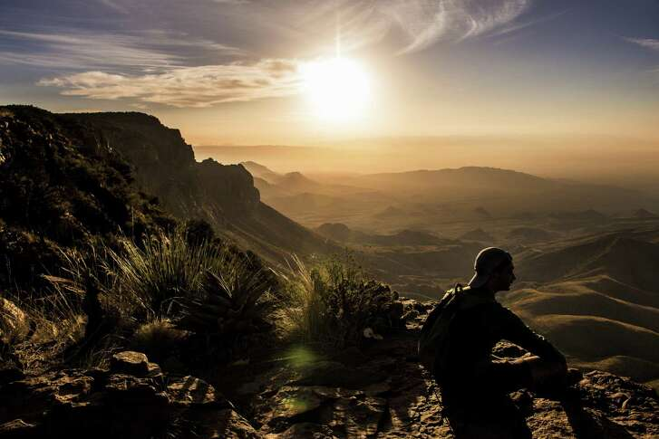 Vipul Devluk takes in the sunrise from the South Rim at Big Bend National Park on April 10, 2017.
