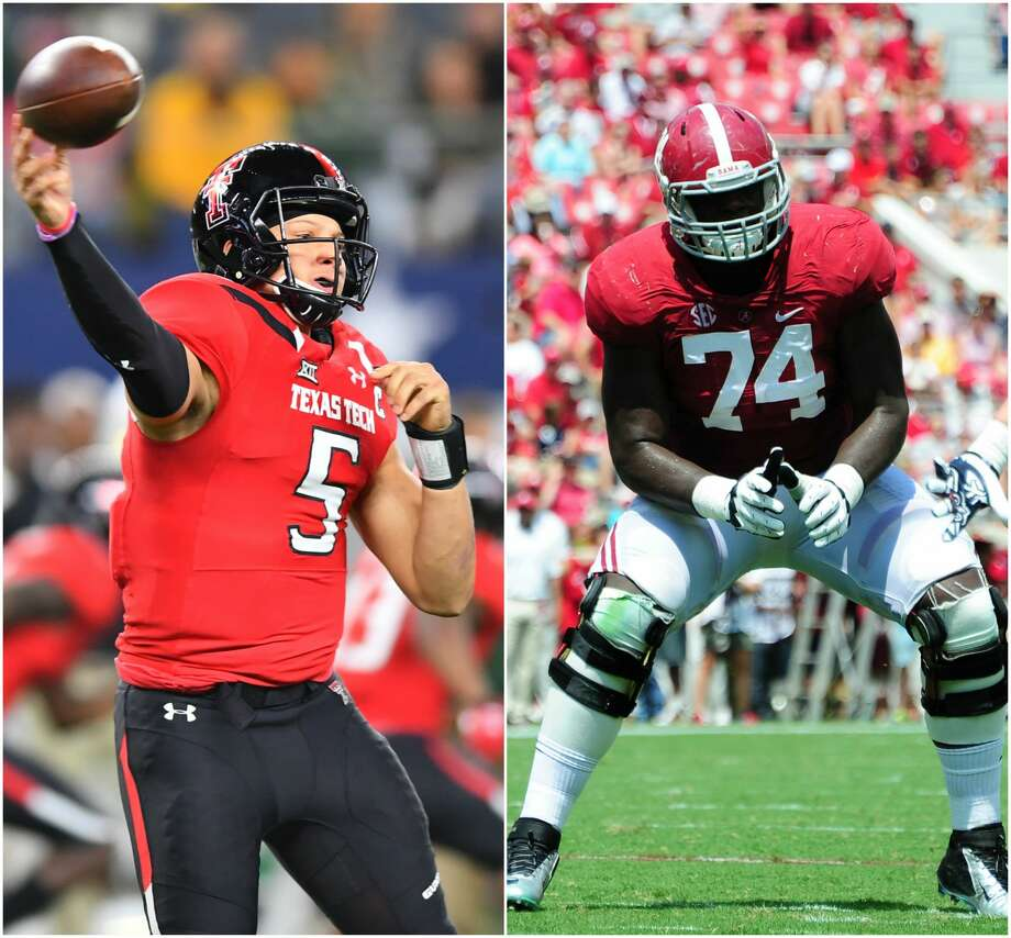 PHOTOS: A roundup of mock drafts to see who the experts think the Texans will draft in the first roundMost mock drafts have the Texans drafting Texas Tech quarterback Patrick Mahomes or Alabama offensive tackle Cam Robinson in the first round of the NFL Draft.Browse through the photos to see who the experts have the Texans selecting in their NFL mock drafts. Photo: Getty Images