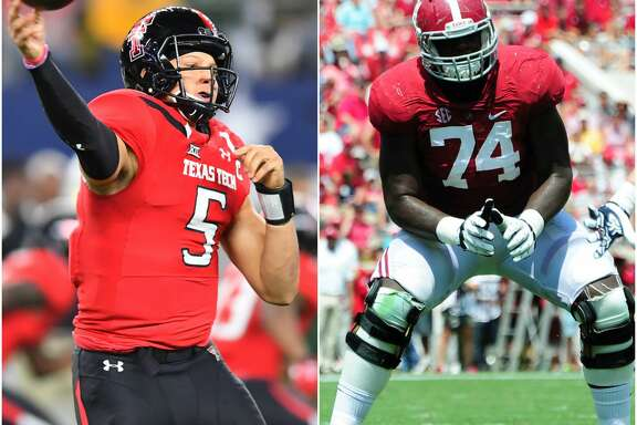 Most mock drafts have the Texans drafting Texas Tech quarterback Patrick Mahomes or Alabama offensive tackle Cam Robinson in the first round of the NFL Draft.